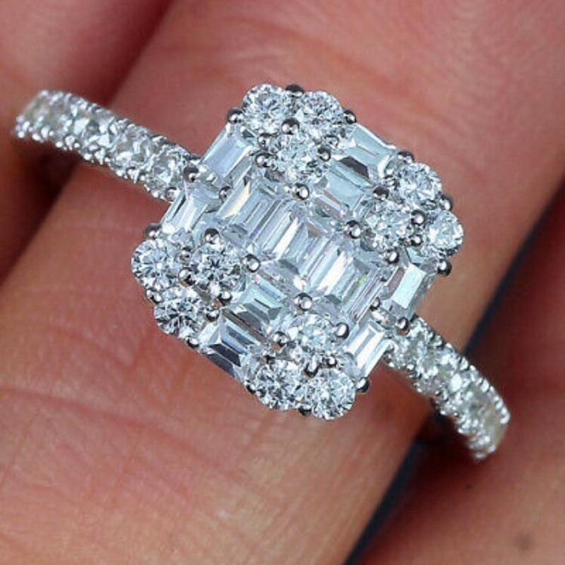 Infinity tout nouveau bijoux de luxe 925 en argent Sterling T princesse coupe blanc clair 5A cubique zircone femmes bague de mariage cadeau - 3