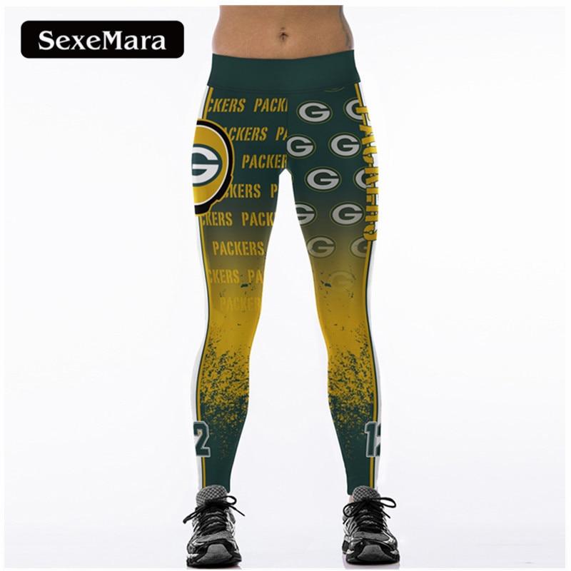 SexeMara PACKERS 12 3D Druck Frauen Leggings Hohe Taille Legging Steelers Gedruckt Frauen Hosen Slim Fitness Leggins