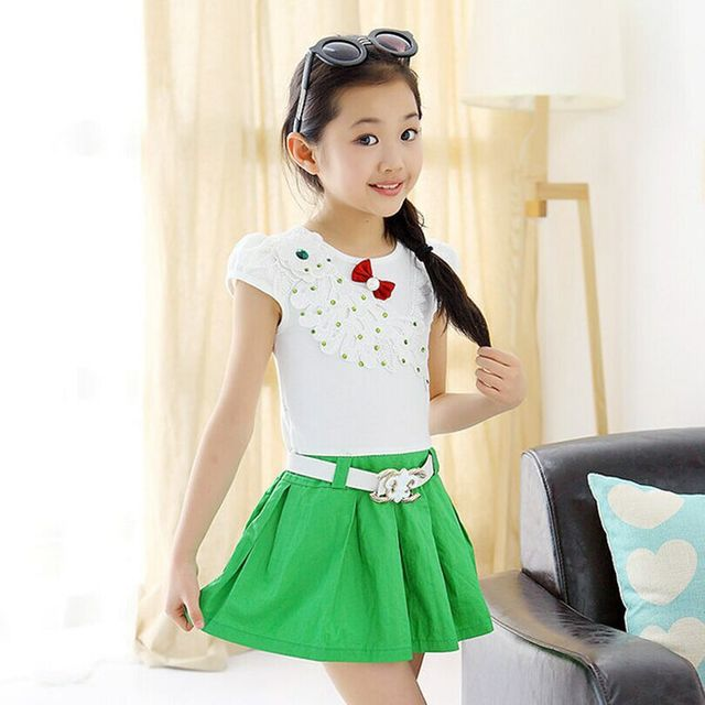 20c1f2aaaff red green summer style girl dress with belt 3 4 5 6 7 8 9 10 11 12 13 years  old baby clothing baby girls dress vestidos A509