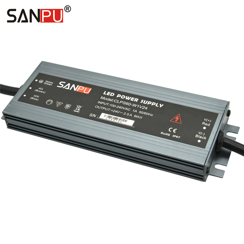 SANPU Switching Power Supply 24V 60W Waterproof IP67 Constant Voltage AC/DC 24 Volt Lighting Transformer 24VDC LED Driver Slim sanpu 24v power supply waterproof ip67 250w 230v 220v ac to dc 24 volt lighting transformer led driver ultra thin slim for leds