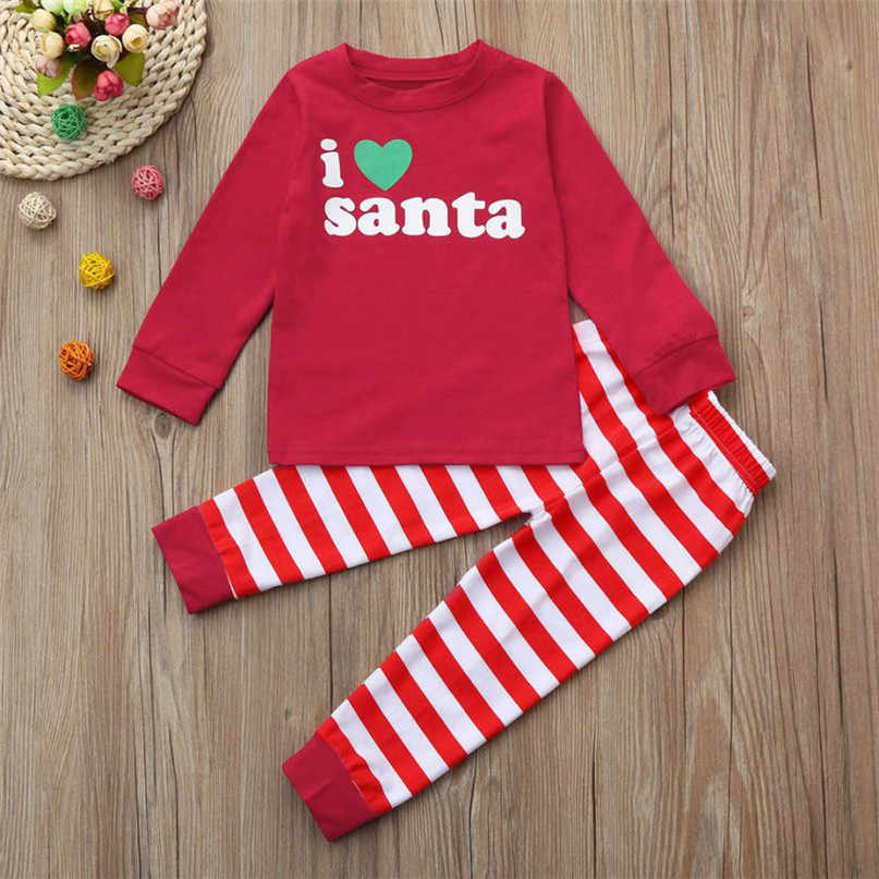 c8c0311fe266 Arloneet Red Hot Fashion Christmas Kids Baby Girl Boy Letter Tops Stripe  Pants Outfit Set Clothes 2017 New 2019 OB12