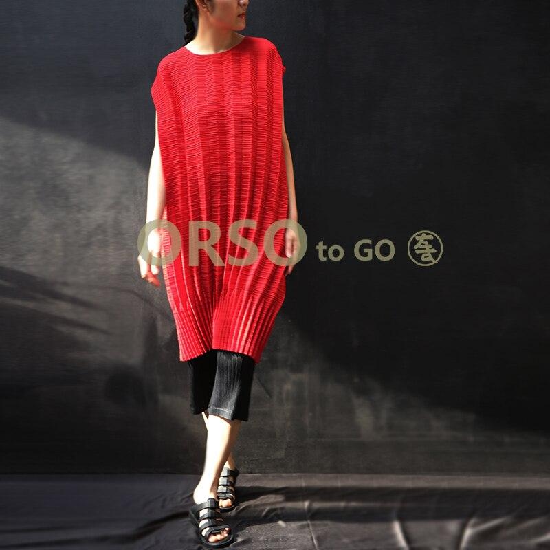 Changpleat 2019 di Estate Nuove Donne Vestito Allentato Miyak Pieghettato di Disegno di Modo del manicotto del Bicchierino del O Collo Solido di Grandi Dimensioni Abito Marea Femminile - 4