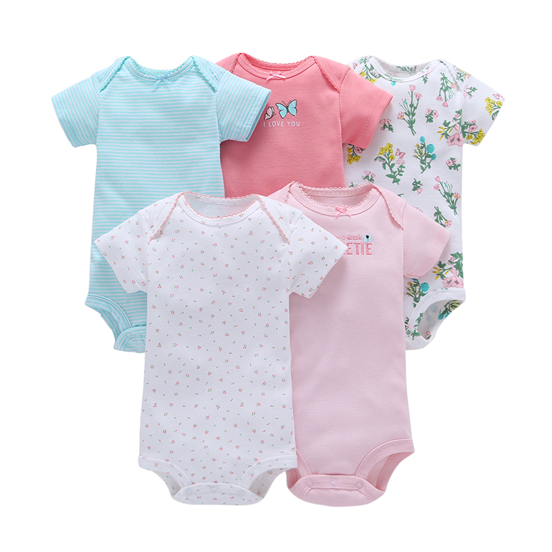 baby girl short sleeve o-neck floral romper 2019 summer boy clothes newborn rompers toddler costume unisex new born 5pcs/set