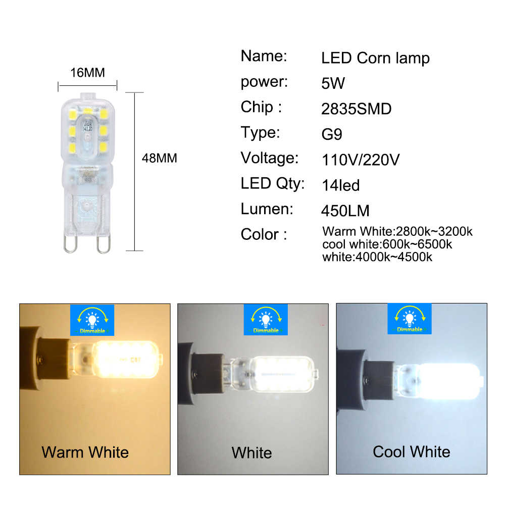 G9 LED Bulbs 220V 110V Dimmable 14/22/32 LEDs SMD 2835 LED G9 Lamp Light Replace 20W/40W/60W Halogen Light-emitting Diode Lamps