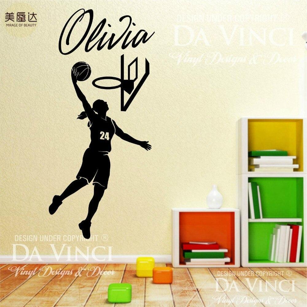 Joueur de basket Slam Dunk Autocollant Personnalisé Fille Nom Personnalisé Vinyle Autocollant