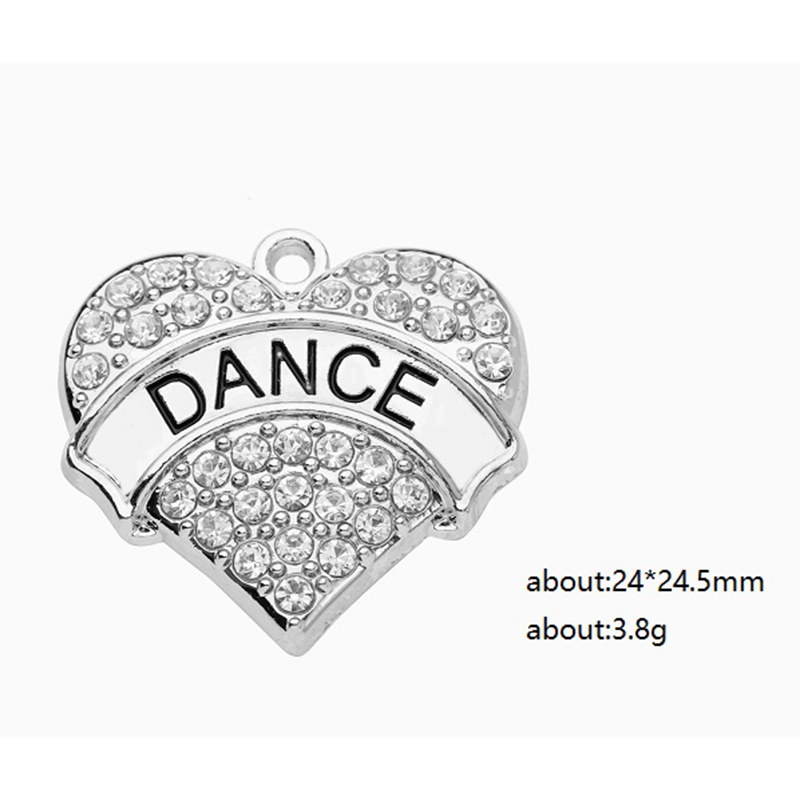 Crystal Heart Charms Dance Pendant for DIY