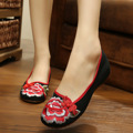 New summer quality peony embroidery woman shoes soft soles black fashion casual sexy flats shoes for ladies oxford shoes women