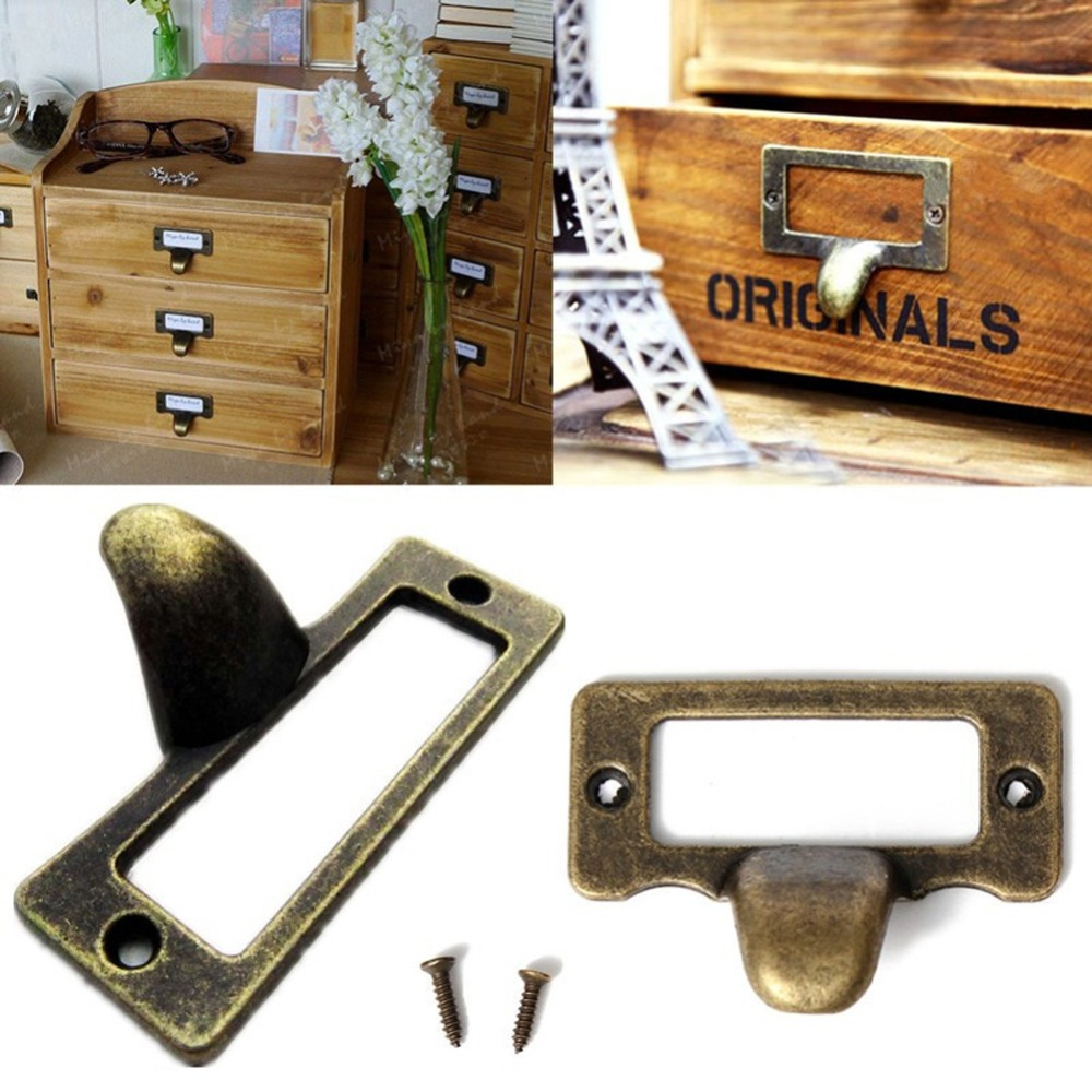 6pcs handle file name card file cabinet handles label hold antique brass drawer label pull cabinet