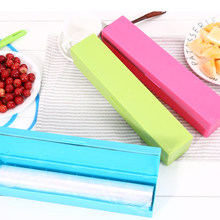 2019 New Plastic Wax Paper Preservative Film Cutter Food Wrap Cling Film Storage Holder Kitchen Cling Food Dispenser(China)