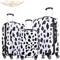 2017 New Trolley Rolling Travel Hardside Luggage Sets 20 + 24 +28 inches 3 Pieces Set PC abs luggage Cow Print Fochier white