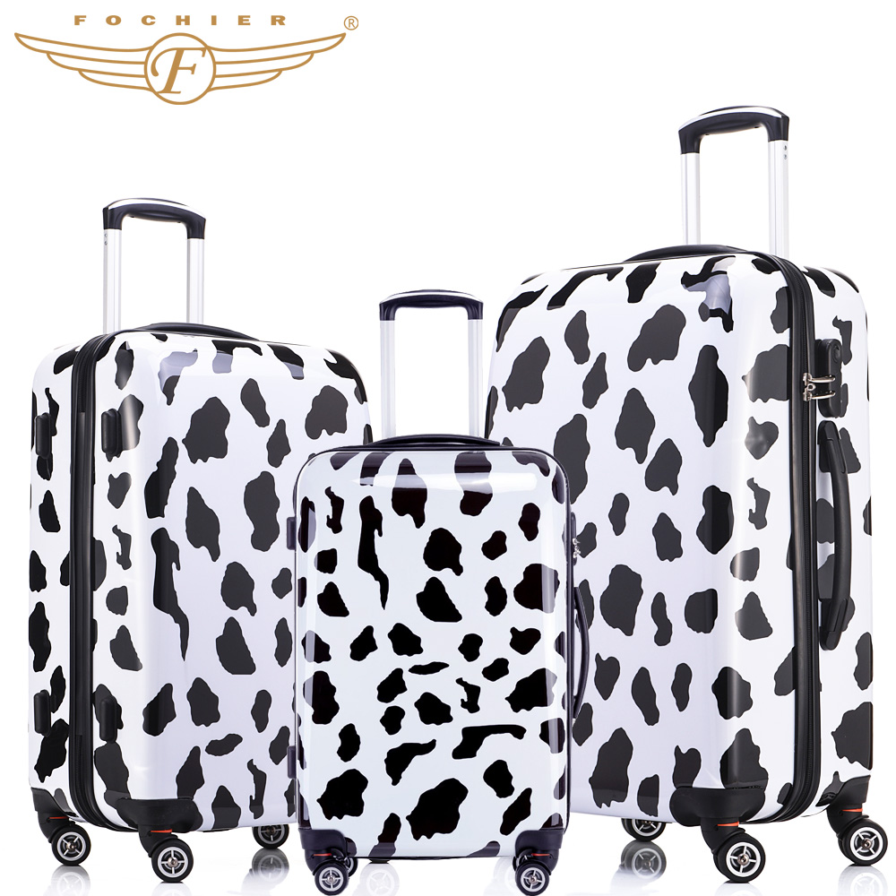 New Trolley Rolling Travel Hardside Luggage Sets 20 + 24 +28 inches 3 Pieces Set Cow Print