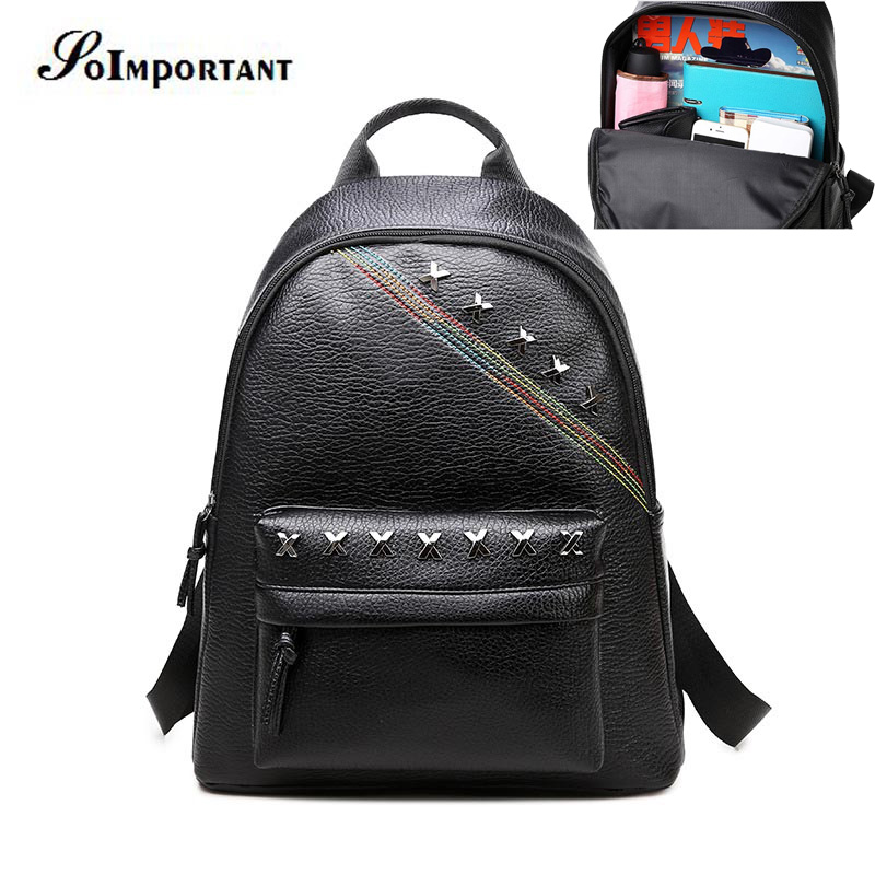 New Fashion Women Leather Backpack School Bags For Teenagers Women Rivet Large  Travel Backpack Girl Casual b25688b604640
