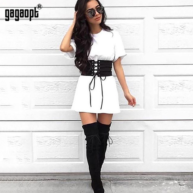 Gagaopt 2017 Summer Dress Causal T-shirt Dress With Belt Short Sleeve Party Dresses White&Camouflage Vestidos Robes