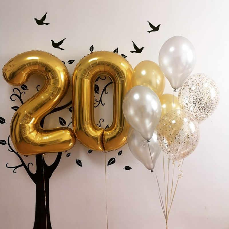40 polegada grande número da folha da tira do ouro balões festa de aniversário do casamento decorações suprimentos tamanho grande dígito inflável ar ballon
