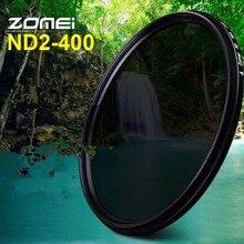 ZOMEI atenuador de densidad neutra de vidrio delgado ND2 400 filtro ND Variable ajustable 49/52/55/58/62/67/72/77/82mm