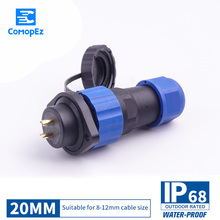 цена на Waterproof Connector SP20 IP68 Cable Connectors Plug & Socket Male And Female 2 3 4 5 7 9 10 12 14 Pin SD20 20mm Straight