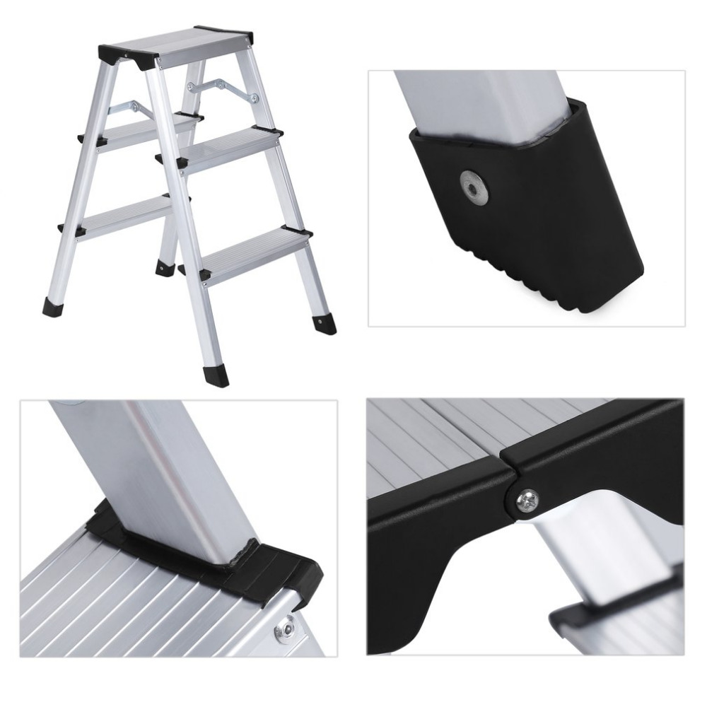 Newest Indoor Outdoor Double Side Aluminium Folding Foot Ladder Load Capacity 150kg Stepladder Professional Replacement Tool цена