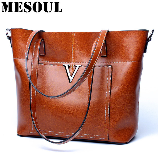 MESOUL Shoulder Handbags Women Vintage Bag High Quality Portable Office Ladies  Bags Genuine Leather Large Capacity Casual Tote ad9d31aee260e