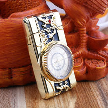 Gecko modeling Clock Watch Quartz Lighter Compact  Butane Jet Torch Cigarette Cigar Straight Fire Lighter NO GAS Men Gift