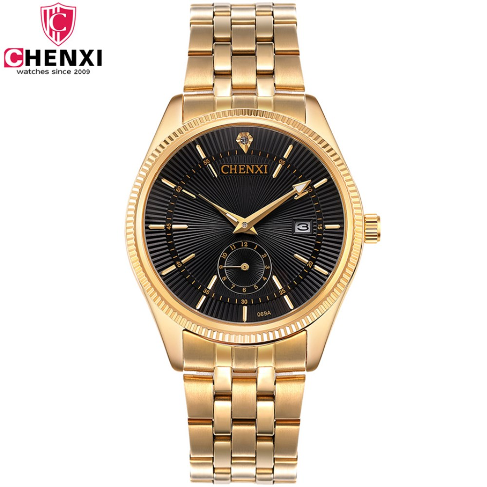 CHENXI Gold Watch Men Luxury Business Watches Golden Waterproof Unique Fashion Casual Quartz Male Dress Clock Relogio Masculino chenxi men quartz wristwatches luxury brand man golden business fashion watch mens shell dial clock dress relogio masculino