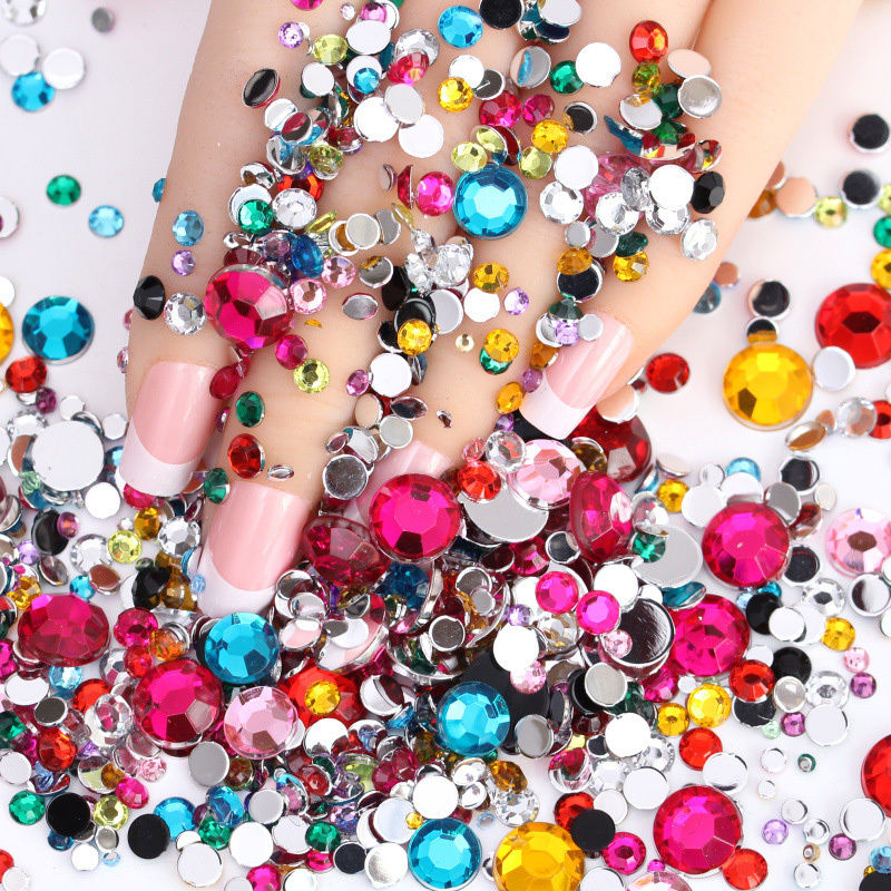 1000pcs set 3d mix colors acrylic nail art tips gems for Acrylic nail decoration supplies