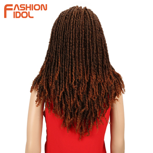 Image 2 - Модные IDOL 22 дюйма синтетические парики для черных женщин крючком косы Twist Jumbo Dread искусственные локс Прическа Длинные афро коричневые волосы