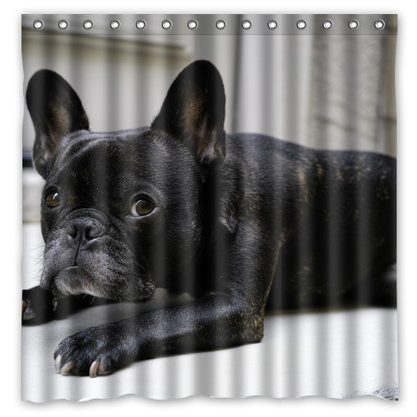 French Bulldog Waterproof Fabric Bath Shower Curtain Mildewproof Polyester Bathroom Curtains With Hooks 72x72