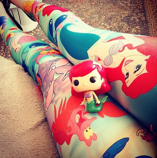 Women Under The Sea Mermaid Cartoon Printed Leggings