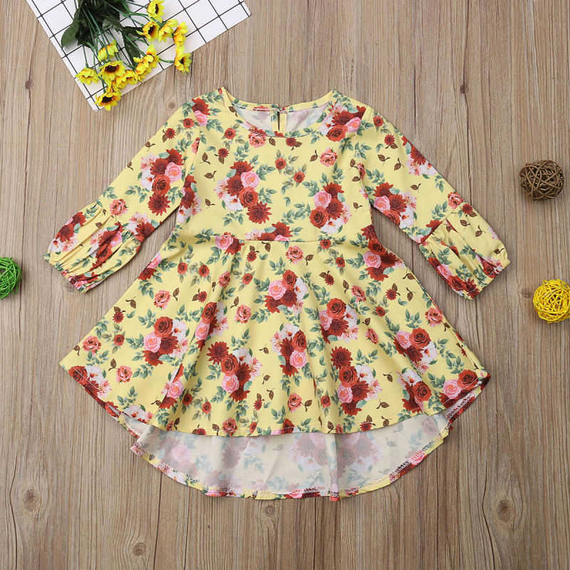 Toddler Girl Dresses Flower Long Sleeve Princess Party Dress Kids Birthday Dresses Children Girls Dress Casual Floral Clothing