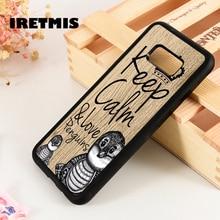 Iretmis S3 S4 S5 cubierta de la caja del teléfono para Samsung Galaxy S6 S7 S8 S9 edge plus nota 3 4 5 8 9 mantener la calma los pingüinos amor frase lindo