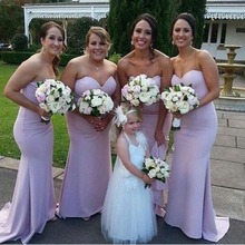 Light Purple Long Mermaid Bridesmaid Dress Sexy Off Shoulder Sweetheart Backless Sweep Train Formal Gown