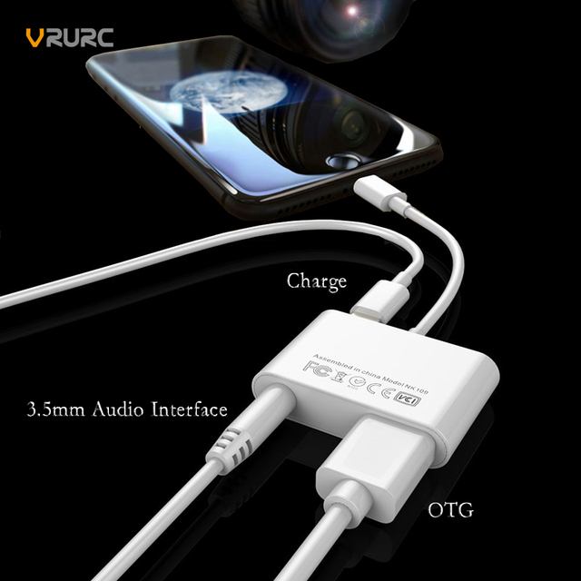 hot sale online 6f606 0ba72 US $18.33 |Vrurc For Lightning to 3.5mm AUX Converter Cable 3 in 1 USB 3.0  OTG Audio Charger Adapter For iPhone X 7 8 Plus Charger Adapter-in Mobile  ...