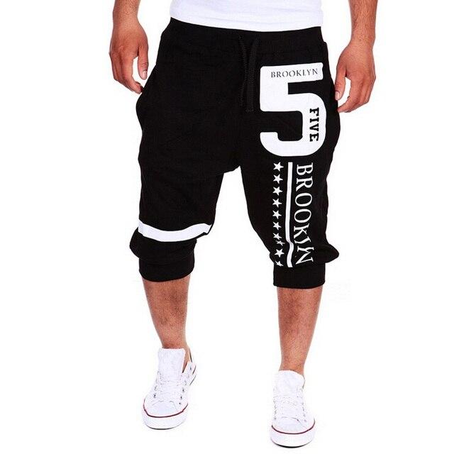 2016 New Fashion Casual Digital Print Men 3/4 Pants Calf-Length Pants Beam Harem Pants Cotton Blend