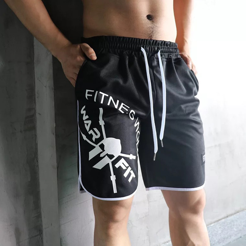 New Style 2019 Summer High Quality Shorts Men Running Bodybuilding Muscular Giants Shorts Goldsgym Skull Shorts