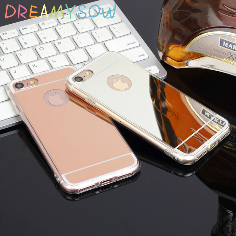 DREAMYSOW Gorgeous New Soft Back Cover For iphone 4 4S 5 5S SE 6 6S Plus 7 Plus X TPU Mirror Effect Shell Back Phone Case