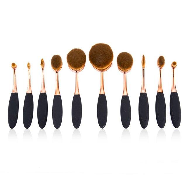 10 unids Oval Cepillo Pinceles de Maquillaje maquillaje Cepillo Conjunto Hermoso Poder Fundación Blush Mezcla Herramienta Cosmética Conjuntos con Blanco caja