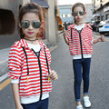 Casual Striped Hooded Hoodies for Girl 2017 New Arrival Active Long Sleeve Kids Girls Coats Trendy Children Girl  Outwear