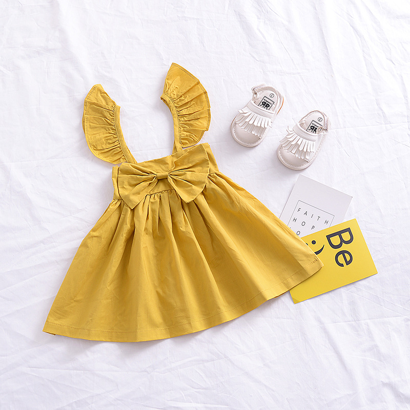 7daba0e52c00 Baby Girl Dress Summer Girls Puff Sleeve Yellow Pink Bow Dress Roupas  Infantis Menina Toddler Girls Casual Dress Clothes-in Dresses from Mother &  Kids on ...