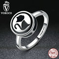 VOROCO Vintage 925 Sterling Silver Small Black Cat Lovely Animal Finger Ring 3 Size Women Fashion DIY Jewelry R011