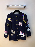 2018 New Arrival Autumn And Winter Sweater Long Sleeve Cartoon Embroidery Knitted Wool Women Cardigan Sweater Free Shipping