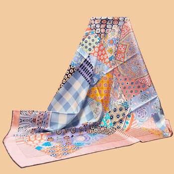 "HuaJun 2 Store|| Spring New Pink Feminine \""L\'Art du Sarasa\"" 90 Silk Square Twill Print Scarf Hand Curled - DISCOUNT ITEM  10% OFF Apparel Accessories"