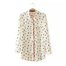 Nice Spring Blouses Women Shirt Full Length Sleeve Fake Pockets Decorated Printed Shirt OL Commuter Shirt Tops Camisas GB8088