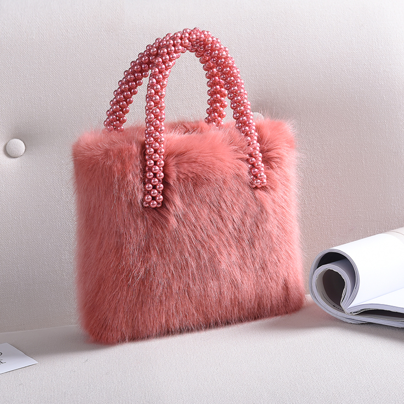 Faux Fur Square Bag Women Handbag 2018 Winter Fashion Lady Handbags with Pearl Handle