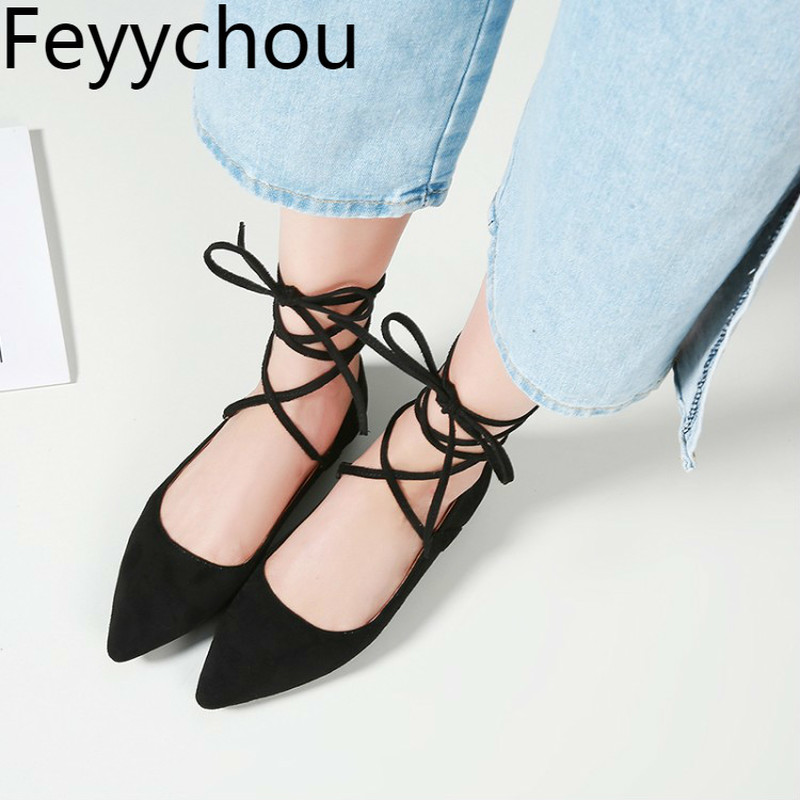 New Women Fashion Casual Lace up Ballet Flats Pointy Toe  Shoes