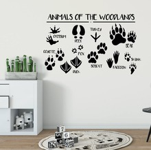 Woodland Wall Stickers Forest Animals Vinyl Decal Kids Room Nursery Decor Removable Animal Paws Print Mural AY1230