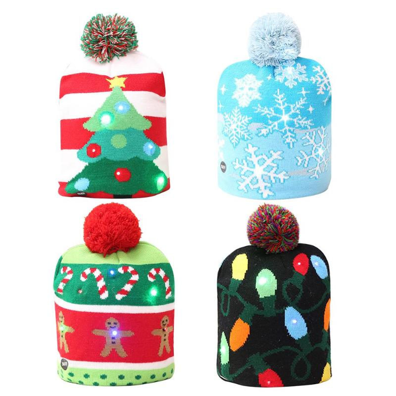 Hot Sale Led Christmas Hat Cap Cute Winter Warm Xmas Tree Knitted
