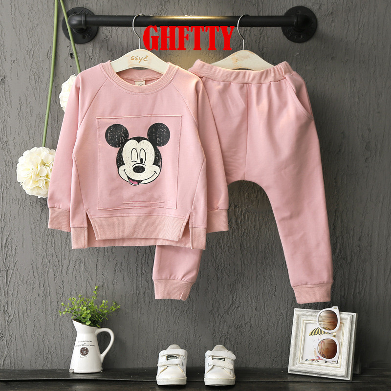 2017 New Pottern Tracksuit Spring Autumn baby children girls Cartoon Minnie Mouse Cotton Children Clothing Sets