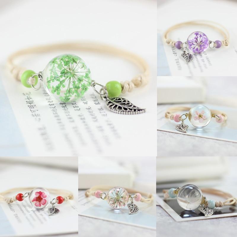 CHARME VINTAGE réel sec Fleurs boule en verre tissage Lucky herbe réglable bracelets 1