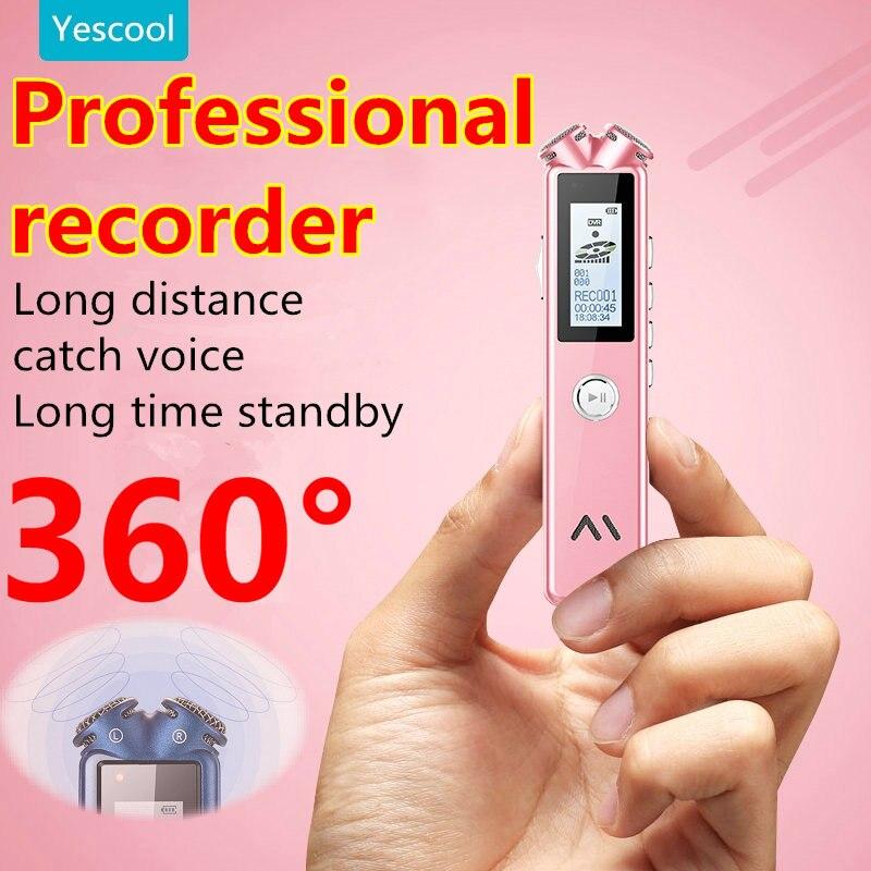 Yescool A20 8 | 16 | 32 GB professionnel mini Numérique Enregistreur vocal dictaphone enregistreur MP3 lecteur de musique Bleu Blanc rose en option