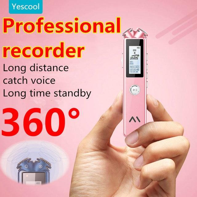 Yescool A20 8 | 16 | 32 ギガバイトプロミニデジタルボイスレコーダーディクタフォン enregistreur MP3 音楽プレーヤーブラックピンクオプション